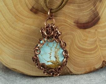 Light Blue Turquoise (Paradise Mine, Nevada) Pendant on Satin Necklace