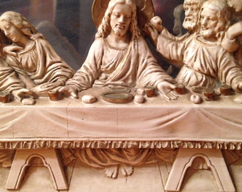 Last Supper Universal Statuary Corp 1956. Wall Hanging 29 x 9.5 x 2 Inches