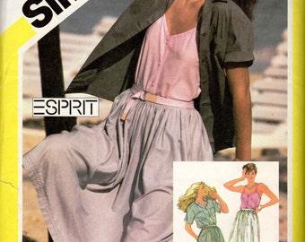 "1980s Women's ESPRIT Camisole, Skirt & Blouse Pattern- Size 10, Bust 32 1/2"" - Simplicity 5037"