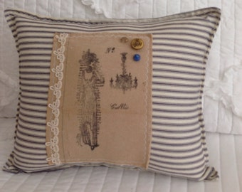 Sale!! Blue ticking Edwardian lady chandelier pillow, blue ticking pillows, victorian lady pillow