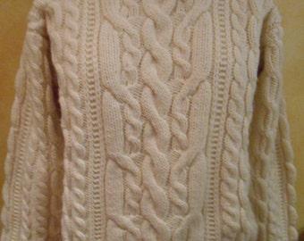 Classic Hand Knitted Cotton Ivory Creme Murphy Of Ireland Wool Fisherman Sweater Winter White (M)