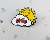 Sunshine Smile Enamel Pin Badge - pin - fun enamel pin - pin brooch - gift for friend - jewellery - pin - brooch - enamel pin