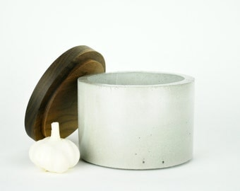 CLEARANCE SALE! Concrete Canister with Black Walnut Lid md