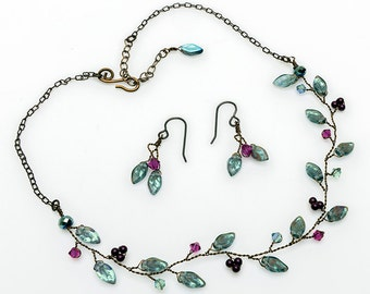 Slate Blue, Pink, Purple Vine Necklace Set, Bridal Necklace, Leaf Necklace, Floral Jewelry, Beaded Nature Jewelry, Rustic Wedding  N523