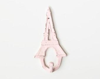 Rose Quartz Eiffel Tower Wall Hook, Paris Apartment, French Decor, Cast Iron Coat Hook, Nursery Art, Bathroom Decor, France Wall Hanging