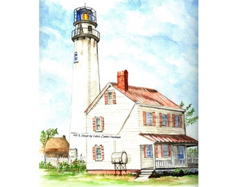 Fenwick Island Lighthouse Watercolor Print, Delaware Seashore Art, Beach Home Decor Painting, Ocean City, Maryland Picture