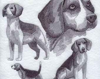 Beagle Embroidered Quilt Block Square Dog Sketch
