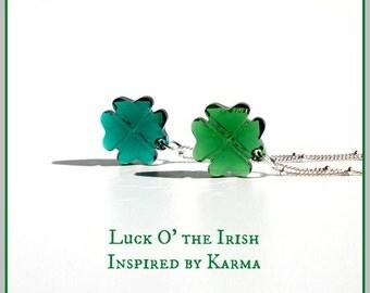 Swarovski 4-Leaf Clover Necklace, Lucky Necklace, St Patricks Day, Shamrock Necklace, Sterling Silver,