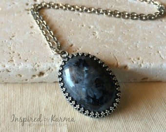 Larvikite Necklace,Black Moonstone Necklace,Silver Necklace,Oval Gemstone Stone,Gemstone Jewelry,Larvikite Jewelry,Gifts for Her, Healing