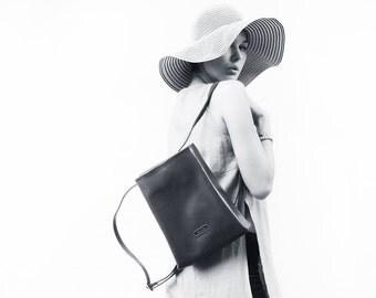 Vintage asphalt gey faux leather small minimalist backpack bag