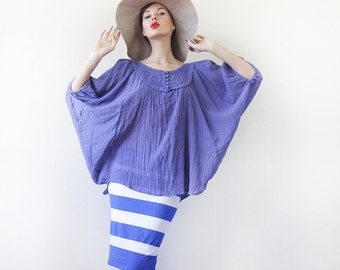 Free size vintage midnight blue cotton oversized slouchy wide batwing sleeve top blouse