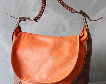 NICOLI vintage orange brown leather single strap shoulder purse bag