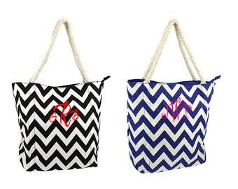 FAST SHIPPING Monogram Royal Blue Chevron Tote Bag - Personalized Tote Bag - Monogrammed Tote Bags - Personalized Chevron Canvas Tote Bag