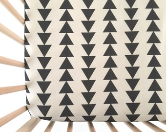Crib Sheet Charcoal Tribal Triangles. Fitted Crib Sheet. Baby Bedding. Crib Bedding. Minky Crib Sheet. Crib Sheets. Triangle Crib Sheet.