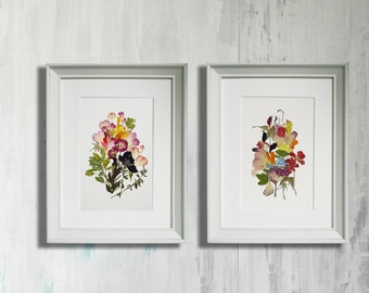 Set of 2 botanicals prints art works Pressed flower art Framed floral art Wall Herbarium Dried flowers decor Framed wall art illustration
