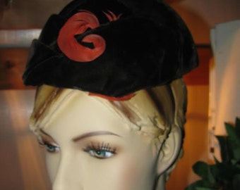 Art Deco Flapper Ladies Hat Orange Feather Plume Brown Black Velvet California Label Free USA Shipping and Tracking Included in Price