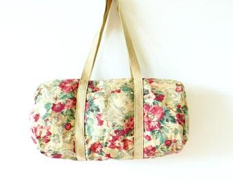 Boho Floral Vintage Duffle Bag / Vintage Khaki Floral Bag / Retro Floral Weekender