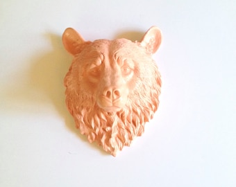Faux Taxidermy APRICOT Large Bear Head wall mount wall hanging / woodland decor / kids room decor / fake bear wall mount / faux taxidermie
