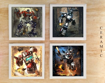 Stone or Ceramic Transformers Coaster set - Vintage Retro Comics Autobots Marvel Optimus Prime Jazz Ratchet Prowl