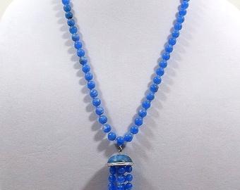 Vintage Blue Plastic Bead Tassel Necklace
