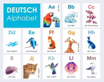 German ABC cards, Deutsch ABC Kunst , Tiere Alphabet, Kindergarten Kunst, Geometrische, Eisvogel, Pinguin, Fuchs, ABC cards, Alphabet art