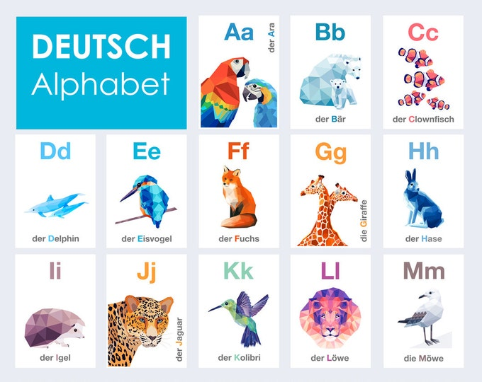 German ABC cards, Deutsch ABC Kunst , Tiere Alphabet, Kindergarten Kunst, Geometrische, Eisvogel, Pinguin, Fuchs, ABC cards, Alphabet art