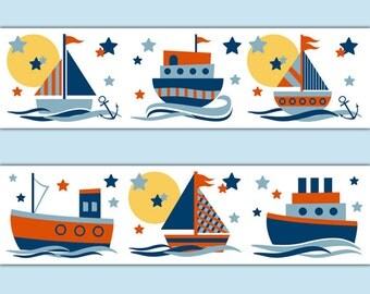 Sailboat Decal Stickers Wallpaper Border Baby Boy Nautical Nursery Childrens Room Kids Sail Boat Bedroom Transportation