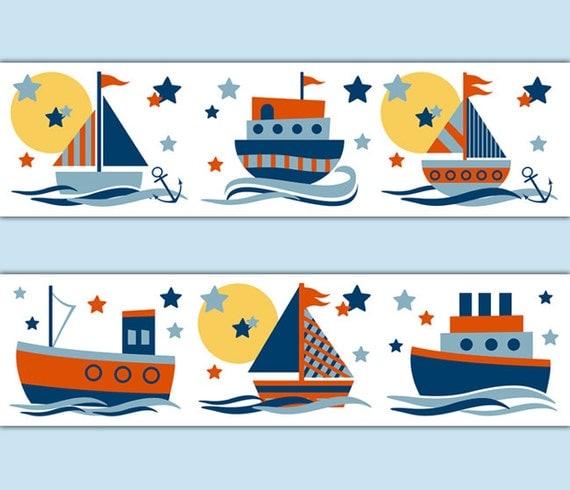 Boy Toys Border : Sailboat decal stickers wallpaper border baby boy nautical