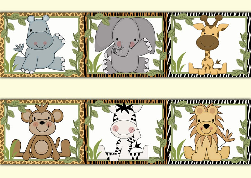 SAFARI ANIMALS WALLPAPER Border Wall Decal Baby Boy Jungle