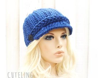 Newsboy hat Womens hats trendy Hat with brim warm winter hat crocheted newsboy cap Blue hat knitting hat 'BEVERINA'