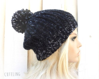Womens Hat Black hat knitting hats Pom pom beanie hat Winter fashion ski hat Warm Beanie Chunky knitted hat 'The Amazing Pompom Hat'