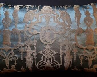 Lumbar Throw Pillow Cushion Cover Silk Brocade Rubelli Fabric Aqua Blue and Gold Aida Pattern - Made in Italy
