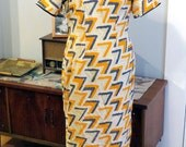 Vintage 1960s Silk Dress   Silk Asian Style Dress   Mandarin Collar   Orange and Blue Abstract Print   Size  Medium - Large   Size M - L