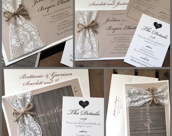 Vintage Wedding Invitations - Jordan Lace Collection - Rustic - Country Ivory Barn Wood Taupe Gray - Jute - Recycled - Cottage Chic - Eco