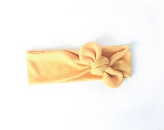mustard yellow, fall, yellow, cotton, jersey, knot headband, tie headband, top knot head wrap - one size fits all