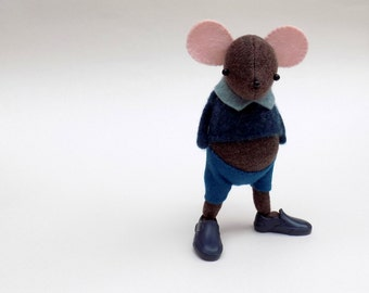Brown Woollen Mouse  -  Handmade plush mouse wearing blue woolly pullover and matching felt pants.