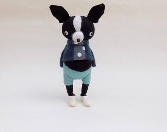 Woollen Boston Terrier  -  Handmade woolly plush terrier wearing blue cashmere pullover and matching felt pants.