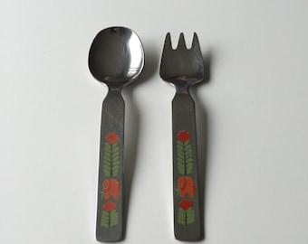 Vintage 60s German Elephant Child's Fork & Spoon Set