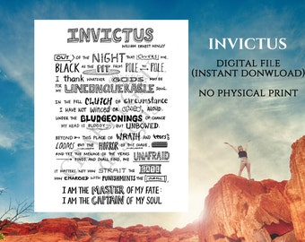 Printable Invictus Poem, Willian Ernest Henley, Literature Print, Custom poem, Invictus framed, poetry print, monochrome