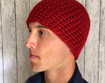 Chunky Red Beanie- Mens Beanie Hat Bright Red- Handmade Crochet