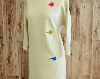 Fred Rothschild mod 1960s dress, butter yellow mod shift dress, mod wool shift