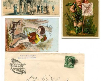 4 Antique, Brooklyn Advertising, Trade Cards, and Brooklyn Envelope, Historic Brooklyn Businesses