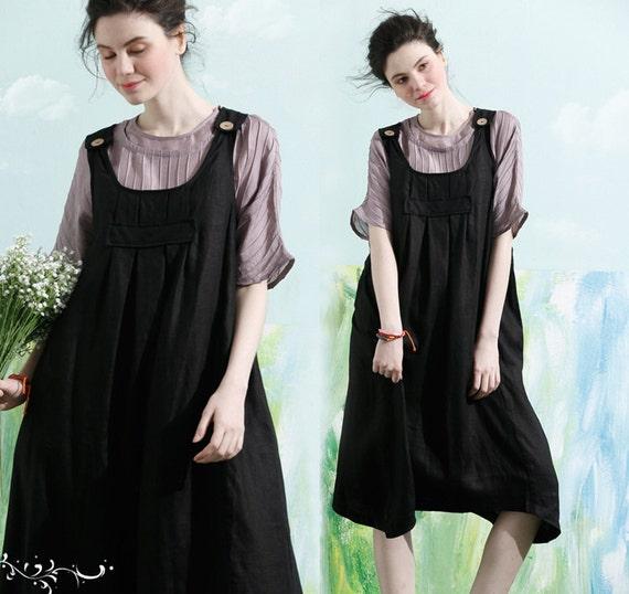 Black Linen Sundress with pockets / Party Dress / Halter Dress / Loose Casual Dress, XL,XXL plus size C1002