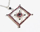 Vintage Victorian Necklace, Dark Garnet Red Rhinestone Embellished Large Silver Square Pendant, Unique Vintage Jewelry