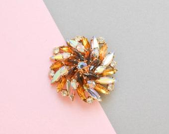 Vintage flower brooch, flower pin, 60s jewelry, costume jewelry, statement brooch