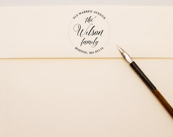 Modern Calligraphy Family Address Stamp - Round Custom Self Inking Stamp