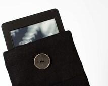 Kindle Paperwhite cover/Black kindle case/linen ereader cover/ Linen Kindle fire HD 8.9 case/padded tablet case/ grey ereaders holder 0398