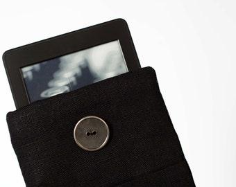 Black kindle case, kindle holder, linen ereader cover, Linen Kindle fire HD 8.9 case, padded tablet case, ereader holder 0398