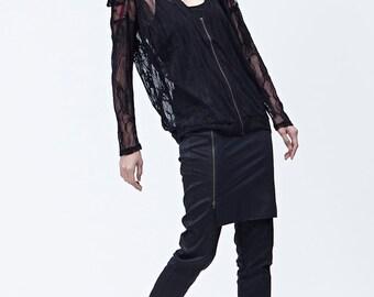 Black lace jacket / top with sharp shoulder detail