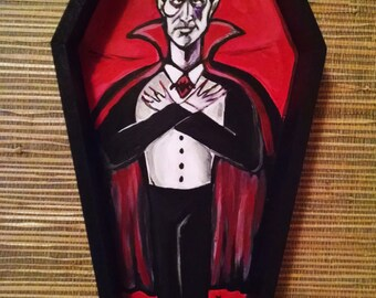 Halloween themed Dracula Vampire in Coffin Wall Art Mixed Media Painting on Coffin Shaped Box Ready to hang